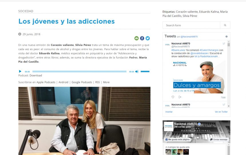 Jóvenes sin alcohol. FP en el programa Corazón valiente, Radio Nacional.